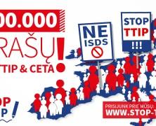 Europos piliečių iniciatyvą prieš prekybos sutartį su JAV parašais parėmė jau 2 milijonai žmonių